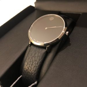 Movado Watch, Black Leather